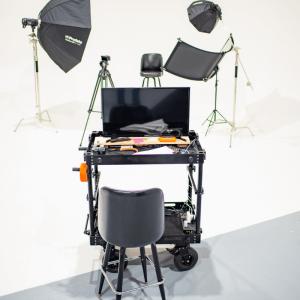 work desk by photo setup