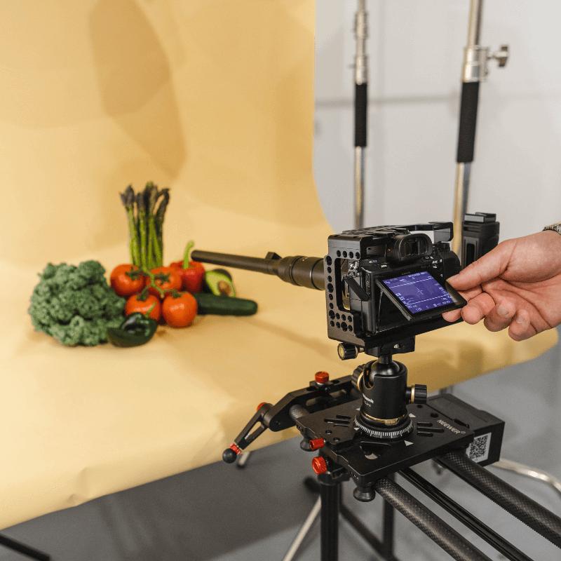 camera pointed at food