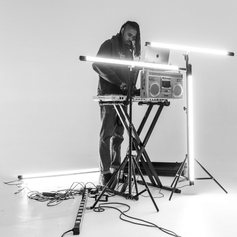 man DJ'ing
