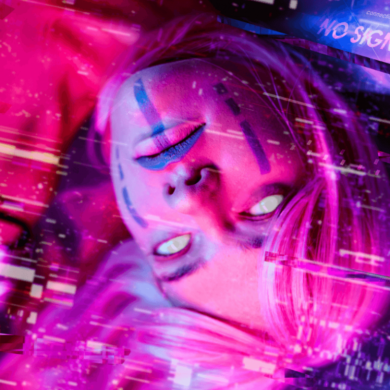 neon colors and woman