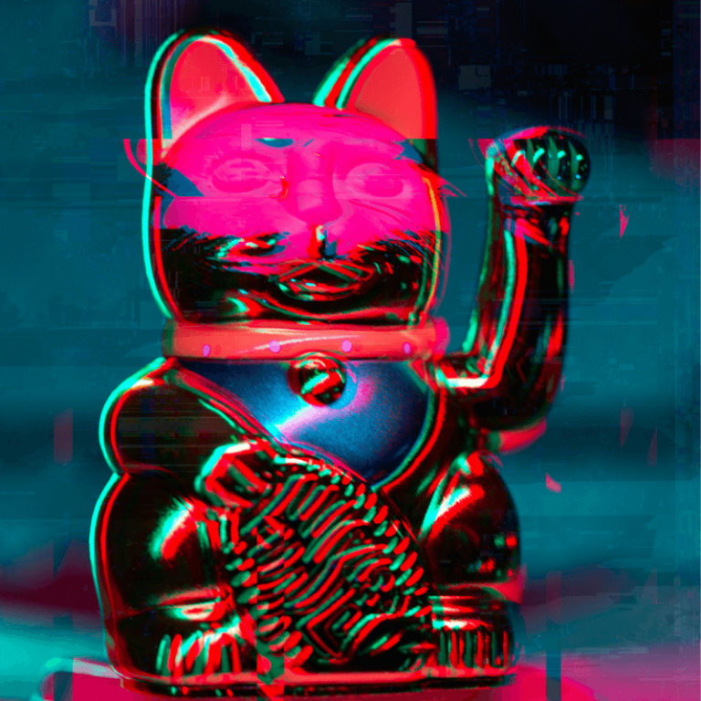neon colors and cat statue
